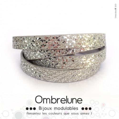 Cordon Slide 10mm «Fever argent»/ bijoux aimantés Ombrelune