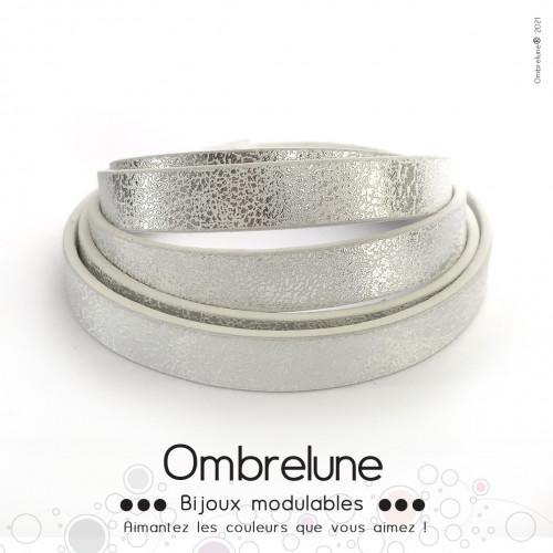 Cordon Slide 10mm «Blanc brillant»/ bijoux aimantés Ombrelune