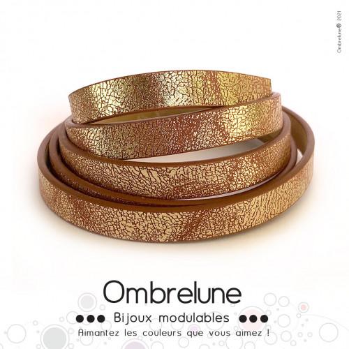 Cordon Slide 10mm «Brun brillant»/ bijoux aimantés Ombrelune