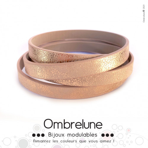 Cordon Slide 10mm «Champagne brillant»/ bijoux aimantés Ombrelune