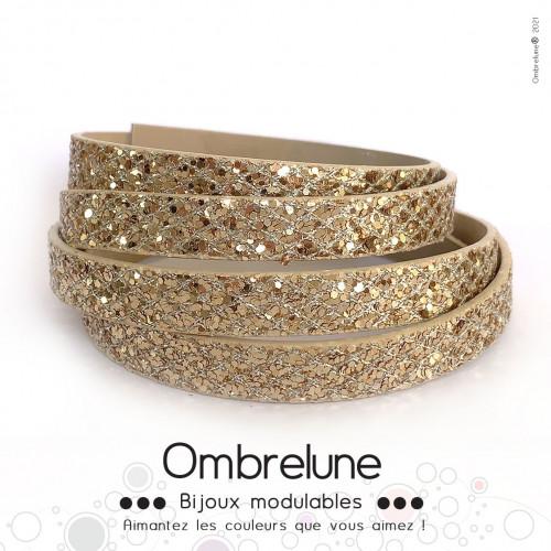 Cordon Slide 10mm «Fever champagne»/ bijoux aimantés Ombrelune