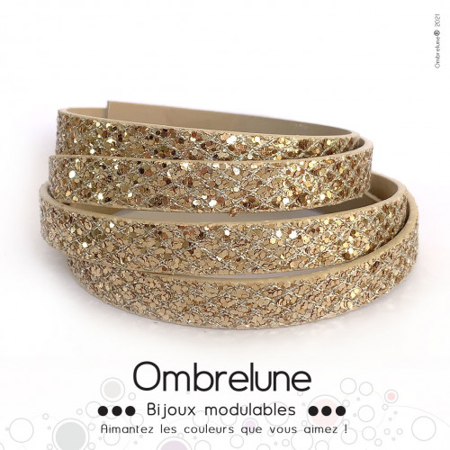 Cordon Slide interchangeable «Fever champagne»/ bijoux aimantés Ombrelune