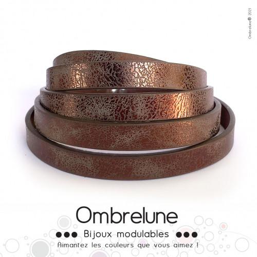 Cordon Slide 10mm «Chocolat brillant»/ bijoux aimantés Ombrelune