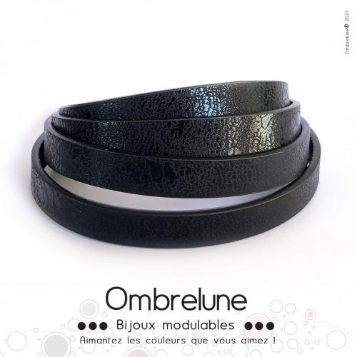 Cordon Slide interchangeable «Noir brillant»/ bijoux aimantés Ombrelune