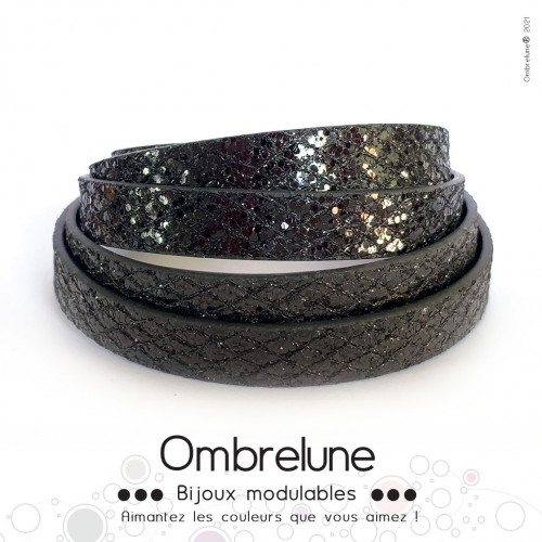 Cordon Slide 10mm «Fever noir»/ bijoux aimantés Ombrelune