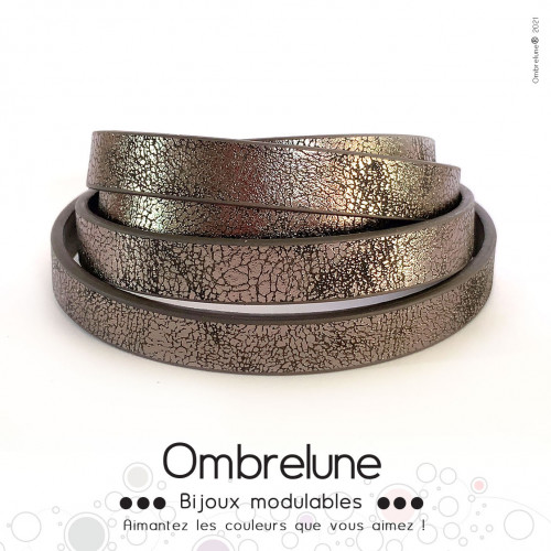 Cordon Slide interchangeable «Taupe brillant»/ bijoux aimantés Ombrelune