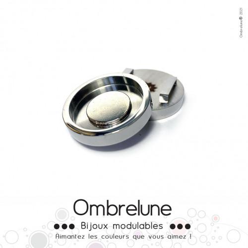 Passant Magnetik MINI «Gris» / base aimantée et interchangeable / Bijoux Ombrelune