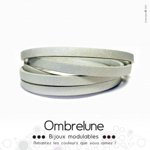 Cordon Slide 5mm «Argent»/ bijoux aimantés Ombrelune