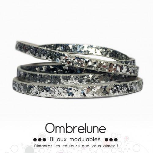 Cordon Slide 5mm «Fever Argent»/ bijoux aimantés Ombrelune