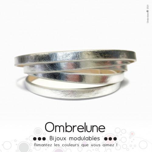 Cordon Slide 5mm «Argent brillant»/ bijoux aimantés Ombrelune
