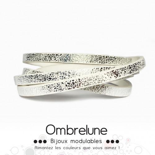 Cordon Slide 5mm «Blanc éclat»/ bijoux aimantés Ombrelune