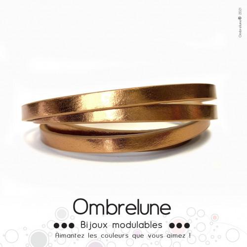Cordon Slide 5mm «Bronze brillant»/ bijoux aimantés Ombrelune