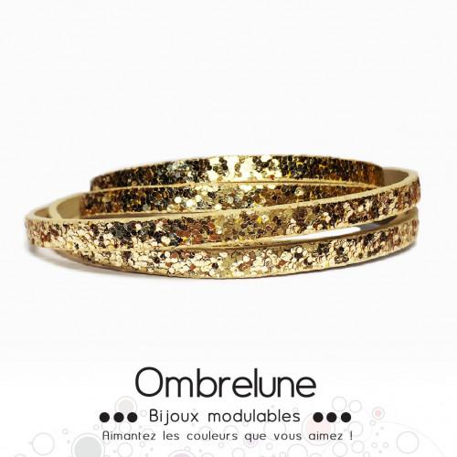 Cordon Slide 5mm «Fever doré»/ bijoux aimantés Ombrelune