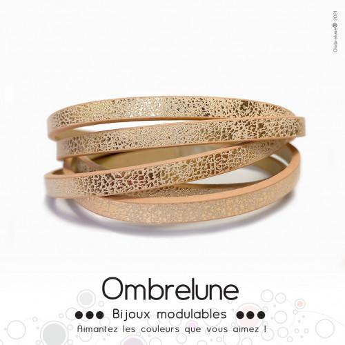 Cordon Slide 5mm «Champagne éclat»/ bijoux aimantés Ombrelune