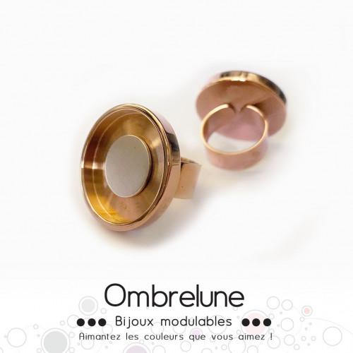 Bague en acier GIGA «Rose Dorée» / bague réglable aimantée et interchangeable / Bijoux Ombrelune