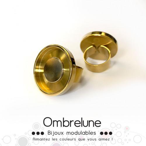 Bague en acier GIGA «Dorée» / bague réglable aimantée et interchangeable / Bijoux Ombrelune