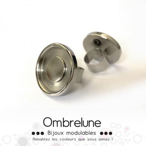 Bague en acier GIGA «Grise» / bague réglable aimantée et interchangeable / Bijoux Ombrelune