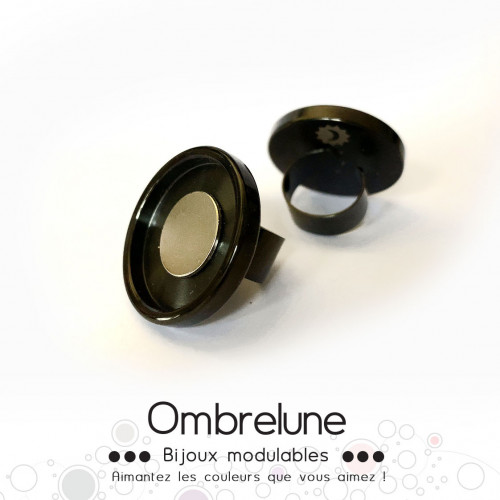 Bague en acier GIGA «Noire» / bague réglable aimantée et interchangeable / Bijoux Ombrelune