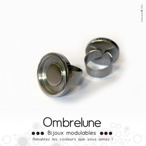 Bague en acier MINI «Grise» / bague réglable aimantée et interchangeable / Bijoux Ombrelune