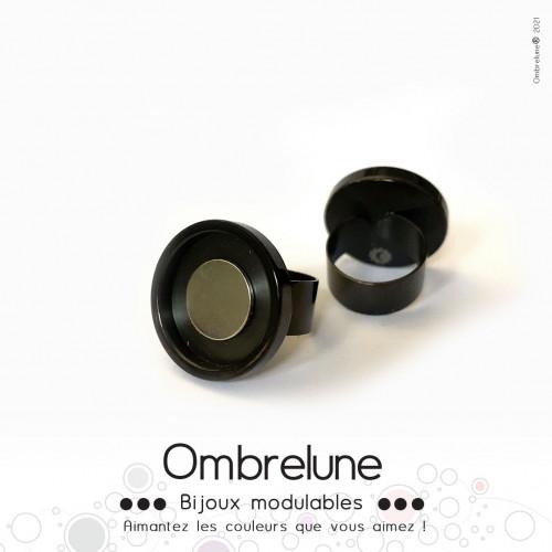 Bague en acier MINI «Noire» / bague réglable aimantée et interchangeable / Bijoux Ombrelune