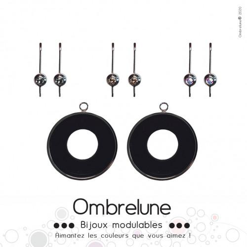 Modèle «Element» /Boucles d'oreilles aimantées et interchangeables en acier / Bijoux Ombrelune
