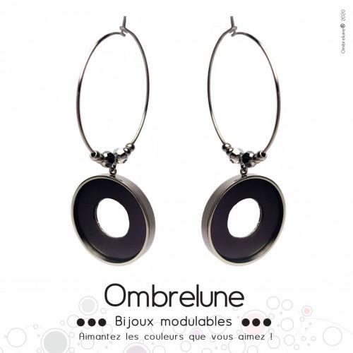 Modèle «Elsa»/ Boucles d'oreilles aimantées et interchangeables en acier / Bijoux Ombrelune