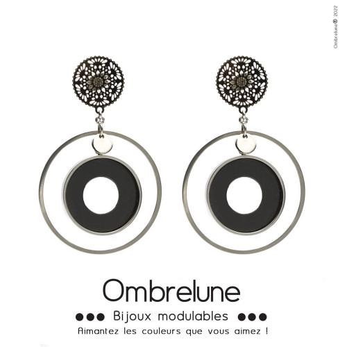 Modèle «Hortense»/Boucles d'oreilles aimantées et interchangeables en acier / Bijoux Ombrelune