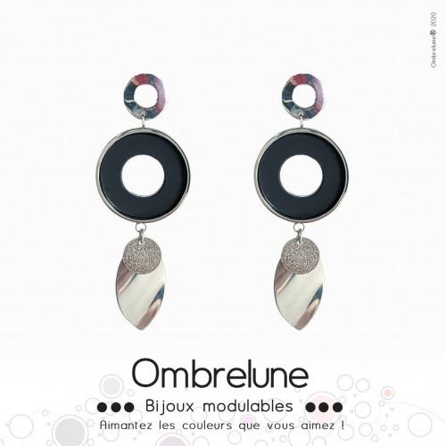 Modèle «Plum»/Boucles d'oreilles aimantées et interchangeables en acier / Bijoux Ombrelune