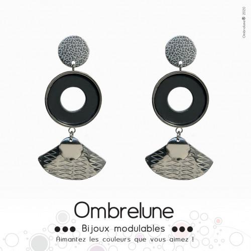Modèle «Shells» /Boucles d'oreilles aimantées et interchangeables en acier / Bijoux Ombrelune