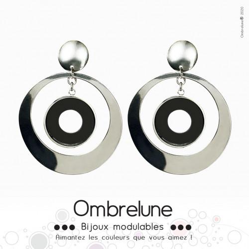 Modèle «Sphere»/Boucles d'oreilles aimantées et interchangeables en acier / Bijoux Ombrelune