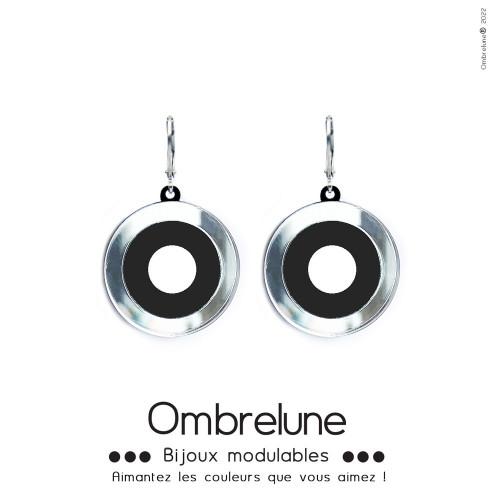 Modèle «Zola» /Boucles d'oreilles aimantées et interchangeables en acier / Bijoux Ombrelune